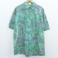 XL★古着 半袖 シャツ 大きいサイズ コットン 緑 グリーン 20apr08 中古 メンズ トップス