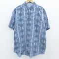 XL★古着 半袖 シャツ 90年代 90s ネイティブ柄 ラグ柄 ボタンダウン 薄紺 ネイビー 【spe】 20apr08 中古 メンズ トップス