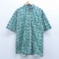 L★古着 半袖 シャツ 90年代 90s バンヒューセン 花 コットン 緑 グリーン 20apr16 中古 メンズ トップス