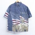 L★古着 半袖 シャツ レッドヘッド リンカーン 星条旗 コットン 紺 ネイビー 20apr17 中古 メンズ トップス