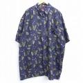 XL★古着 半袖 シャツ 本 砂時計 ロング丈 大きいサイズ シルク 紺 ネイビー 20apr17 中古 メンズ トップス
