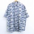 XL★古着 半袖 シャツ 魚 船 シルク 薄青他 ブルー 20apr23 中古 メンズ トップス