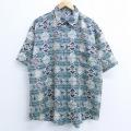 XL★古着 半袖 シャツ ラグ柄 シルク 緑他 グリーン 20apr23 中古 メンズ トップス
