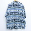 XL★古着 半袖 シャツ 魚 花 大きいサイズ シルク 薄青他 ブルー 20apr24 中古 メンズ トップス