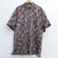 XL★古着 半袖 シャツ 00年代 00s 大きいサイズ シルク エンジ 20may15 中古 メンズ トップス