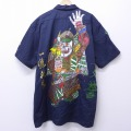 XL★古着 半袖 シャツ ディッキーズ Dickies 武士 ハンドペイント 大きいサイズ 紺 ネイビー 【spe】 20may20 中古 メンズ トップス