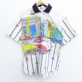 S★古着 半袖 シャツ 80年代 80s 車 ガソリンスタンド USA製 白 ホワイト 【spe】 20may25 中古 メンズ トップス