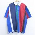 XL★古着 半袖 ラガー シャツ 90年代 90s コットン 青他 ブルー ストライプ 20may25 中古 メンズ トップス