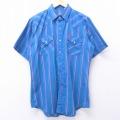 L★古着 半袖 ウエスタン シャツ 80年代 80s ELY 青他 ブルー ストライプ 20may26 中古 メンズ トップス