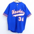 L★古着 半袖 ベースボール シャツ 90年代 90s デロング Hauka 34 ロング丈 USA製 青 ブルー 20may26 中古 メンズ トップス