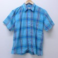 L★古着 半袖 シャツ 70年代 70s 水色 チェック 20jun09 中古 メンズ トップス