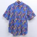 M★古着 半袖 シャツ 90年代 90s 総柄 青 ブルー 20jul30 中古 メンズ トップス