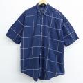 XL★古着 半袖 ブランド シャツ 90年代 90s ノーティカ NAUTICA 大きいサイズ コットン ボタンダウン 紺 ネイビー チェック 20aug17 中古 メンズ トップス