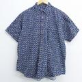 XL★古着 半袖 シャツ 00年代 00s 総柄 コットン 紺 ネイビー 20aug17 中古 メンズ トップス