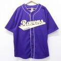XL★古着 半袖 ベースボール シャツ NFL ボルティモアレイブンズ レイルイス 大きいサイズ 紫 パープル アメフト スーパーボウル 20aug18 中古 メンズ トップス