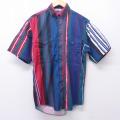 L★古着 半袖 シャツ 80年代 80s ラングラー Wrangler コットン ボタンダウン 赤他 レッド ストライプ 20aug18 中古 メンズ トップス