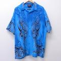 XL★古着 半袖 シャツ トライバル 総柄 大きいサイズ ロング丈 青 ブルー 20aug19 中古 メンズ トップス