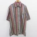 XL★古着 半袖 シャツ 90年代 90s 大きいサイズ コットン ロング丈 USA製 緑他 グリーン ストライプ 20aug20 中古 メンズ トップス