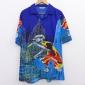 XL★古着 半袖 シャツ 00年代 00s 人 建物 全面プリント 開襟 オープンカラー 青他 ブルー 20aug20 中古 メンズ トップス