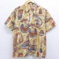 M★古着 半袖 シャツ 90年代 90s ティキ 船 ベージュ カーキ 【spe】 20aug21 中古 メンズ トップス