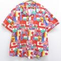 XL★古着 半袖 シャツ 90年代 90s 国旗 総柄 大きいサイズ 開襟 オープンカラー 赤 レッド 【spe】 20aug21 中古 メンズ トップス
