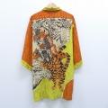 XL★古着 半袖 シャツ 漢字 武将 トラ 大きいサイズ ロング丈 オレンジ 20aug21 中古 メンズ トップス