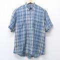 L★古着 半袖 シャツ 80年代 80s バンヒューセン ボタンダウン 緑 グリーン チェック 20aug25 中古 メンズ トップス
