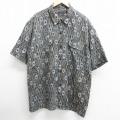 XL★古着 半袖 シャツ 総柄 大きいサイズ ロング丈 シルク 黒 ブラック 21mar17 中古 メンズ トップス