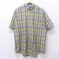 XL★古着 半袖 シャツ 90年代 90s タウンクラフト ロング丈 ボタンダウン 黄他 イエロー チェック 21mar18 中古 メンズ トップス