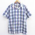 XL★古着 半袖 シャツ 80年代 80s リー Lee 開襟 オープンカラー 白他 ホワイト チェック 21mar24 中古 メンズ トップス
