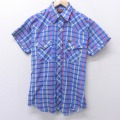 M★古着 半袖 ウエスタン シャツ 80年代 80s ラングラー Wrangler USA製 薄紺 ネイビー チェック 21mar29 中古 メンズ トップス