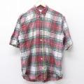 L★古着 半袖 シャツ 90年代 90s アメリカンイーグル American Eagle コットン 赤 レッド タータン チェック 21mar29 中古 メンズ トップス