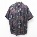 XL★古着 半袖 シャツ 90年代 90s 総柄 大きいサイズ ロング丈 シルク 紫他 パープル 21apr06 中古 メンズ トップス