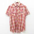 S★古着 半袖 ウエスタン シャツ 70年代 70s H BAR C USA製 赤 レッド チェック 21apr15 中古 メンズ トップス