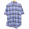 XL★古着 半袖 ブランド シャツ 90年代 90s ラルフローレン Ralph Lauren ワンポイントロゴ 大きいサイズ コットン ボタンダウン 紺 ネイビー チェック 21apr16 中古 メンズ トップス