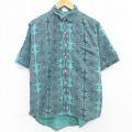 L★古着 半袖 シャツ 90年代 90s 総柄 コットン 緑 グリーン 21apr16 中古 メンズ トップス