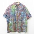 XL★古着 半袖 シャツ 総柄 大きいサイズ ロング丈 コットン エンジ他 21apr19 中古 メンズ トップス