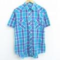 XL★古着 半袖 ウエスタン シャツ ラングラー Wrangler 青緑 チェック 21apr19 中古 メンズ トップス