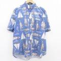 XL★古着 ドッカーズ 半袖 シャツ メンズ 90年代 90s ヨット 船 コットン ボタンダウン 青 ブルー 21jun03 中古 トップス