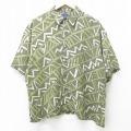 XL★古着 ピューリタン 半袖 シャツ メンズ 総柄 レーヨン 緑 グリーン 21jun02 中古 トップス