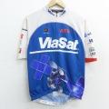 XS★古着 半袖 サイクリング シャツ メンズ ヴィアサット 人工衛星 企業広告 ラグラン 青他 ブルー 21jun03 中古 トップス