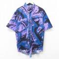 XL★古着 ラングラー Wrangler 半袖 ウエスタン シャツ メンズ 90年代 90s 総柄 大きいサイズ コットン ボタンダウン USA製 紫他 パープル 21jun16 中古 トップス