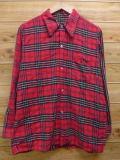 L★古着 長袖 ビンテージ フランネル シャツ 70年代 赤 レッド チェック 18jan23 中古 メンズ トップス