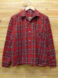 M★古着 長袖 ビンテージ フランネル シャツ 60年代 USA製 赤 レッド チェック 18apr18 中古 メンズ トップス