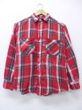 L★古着 長袖 ビンテージ ヘビー フランネル シャツ 60年代 赤 レッド チェック 18dec03 中古 メンズ トップス