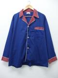 XL★古着 長袖 ビンテージ パジャマ シャツ 70年代 ツートンカラー 大きいサイズ 紺 ネイビー 19sep05 中古 メンズ トップス