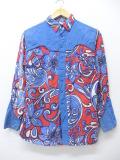 XS★古着 長袖 ビンテージ ウエスタン シャツ 70年代 花 赤 レッド 19sep05 中古 メンズ トップス