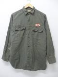 M★古着 長袖 ビンテージ ワーク シャツ 50年代 ヘリンボーン マチ付き 緑 グリーン 19sep05 中古 メンズ トップス