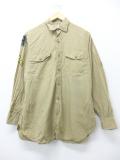 M★古着 長袖 ビンテージ ミリタリー シャツ 60年代 マチ付き ベージュ カーキ 19sep05 中古 メンズ トップス