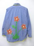 S★古着 長袖 ビンテージ シャンブレー シャツ 70年代 花 薄紺 ネイビー 19sep05 中古 メンズ トップス